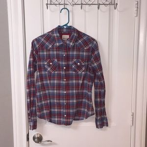 Plaid Shirt with Pearl Snaps